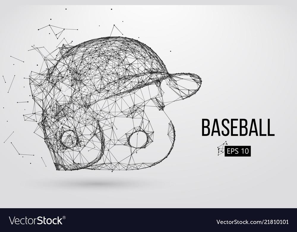 Silhouette of a baseball helmet
