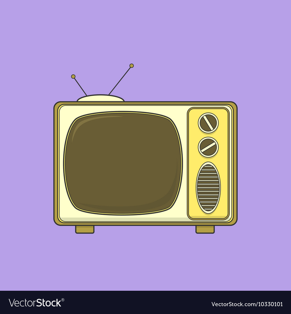 Vintage TV set isolated lineart color vector image