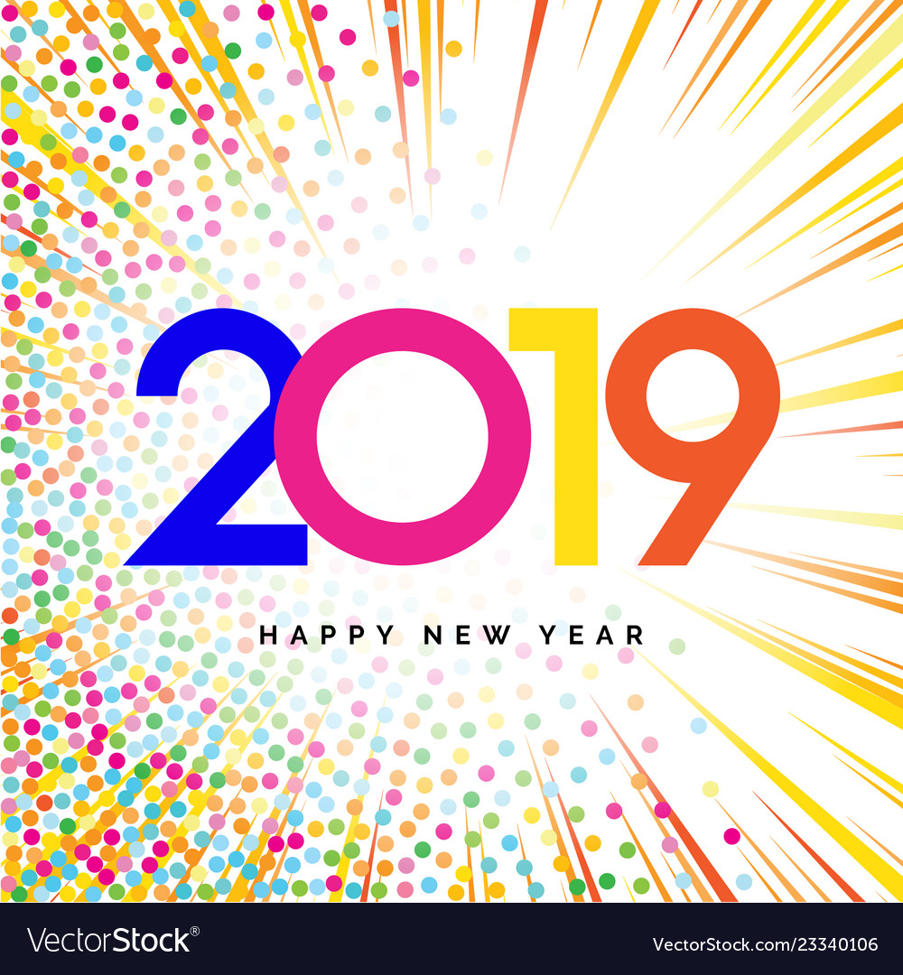 2019 happy new year numbers for calendar design