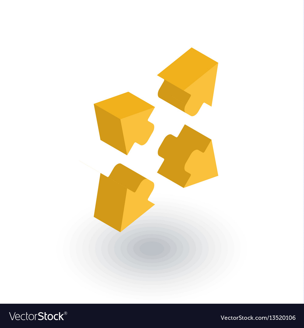Arrows icon outside isometric flat icon vector image