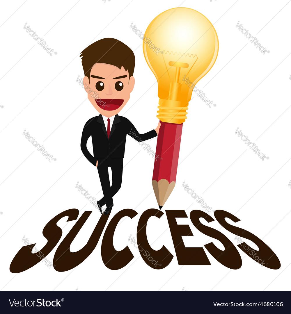 Businessman successful concept and lightbulb penci