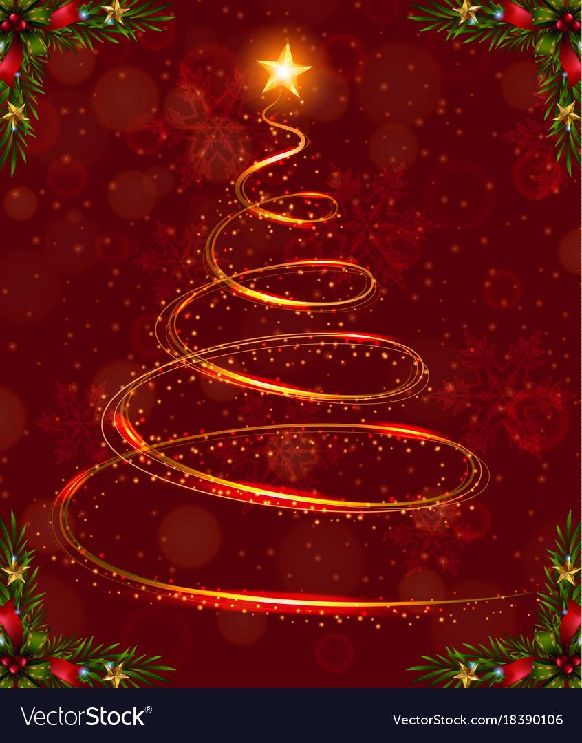 Christmas Card Template With Christmas Tree Light Vector Image