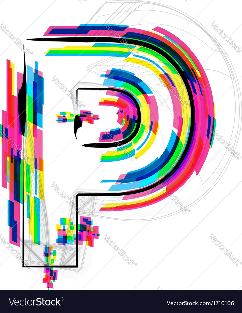 Colorful Font Letter P vector image
