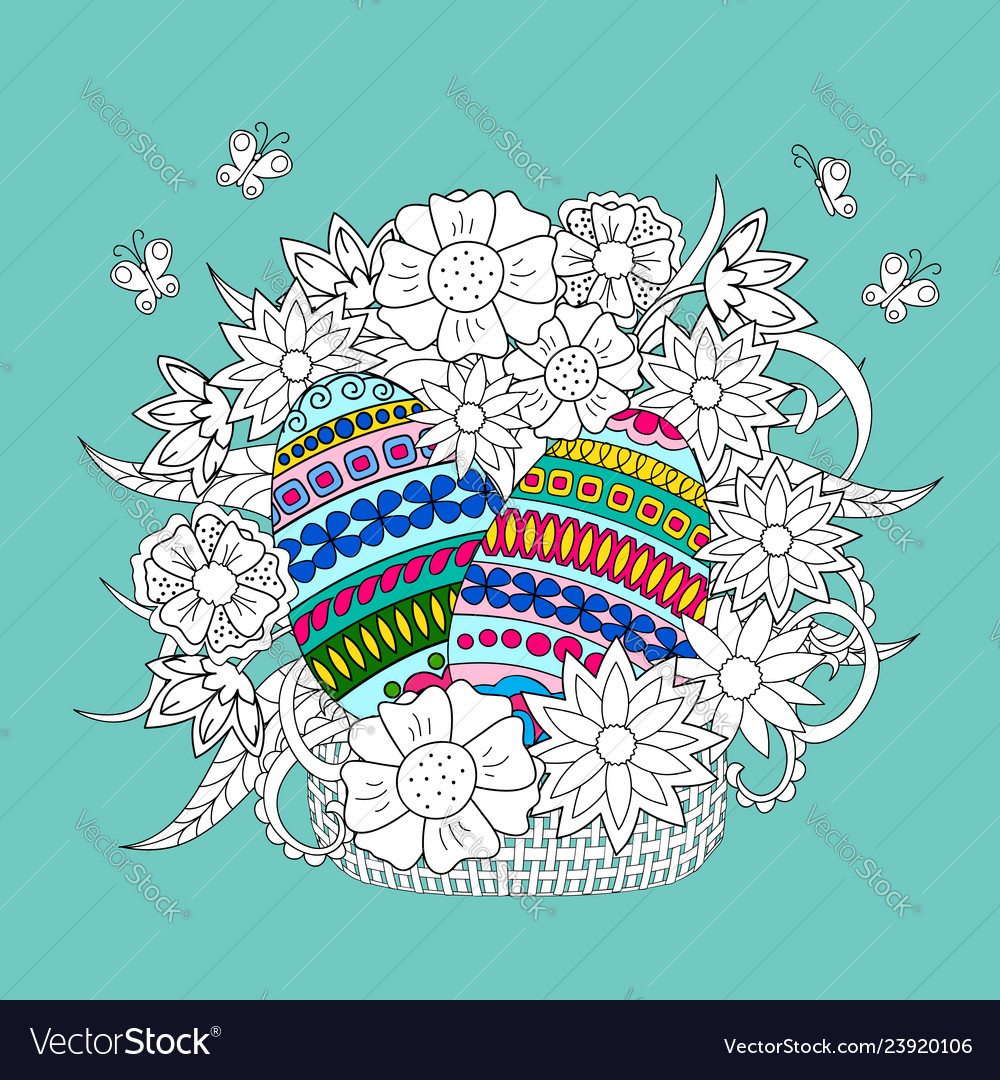 Colorful ornamental eggs and doodle flowers in