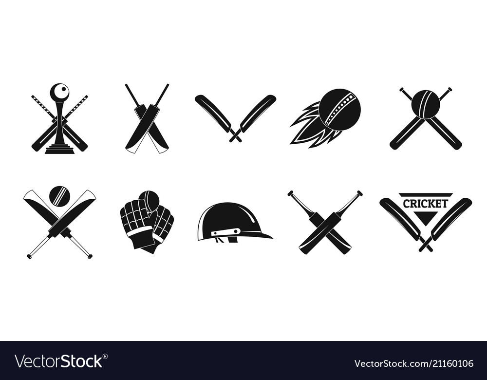Cricket sport ball logo icons set simple style