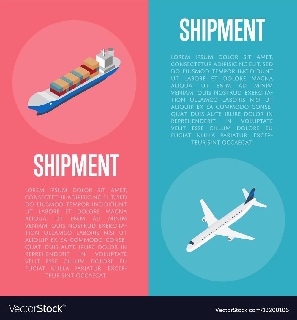 Freight shipment isometric banner set