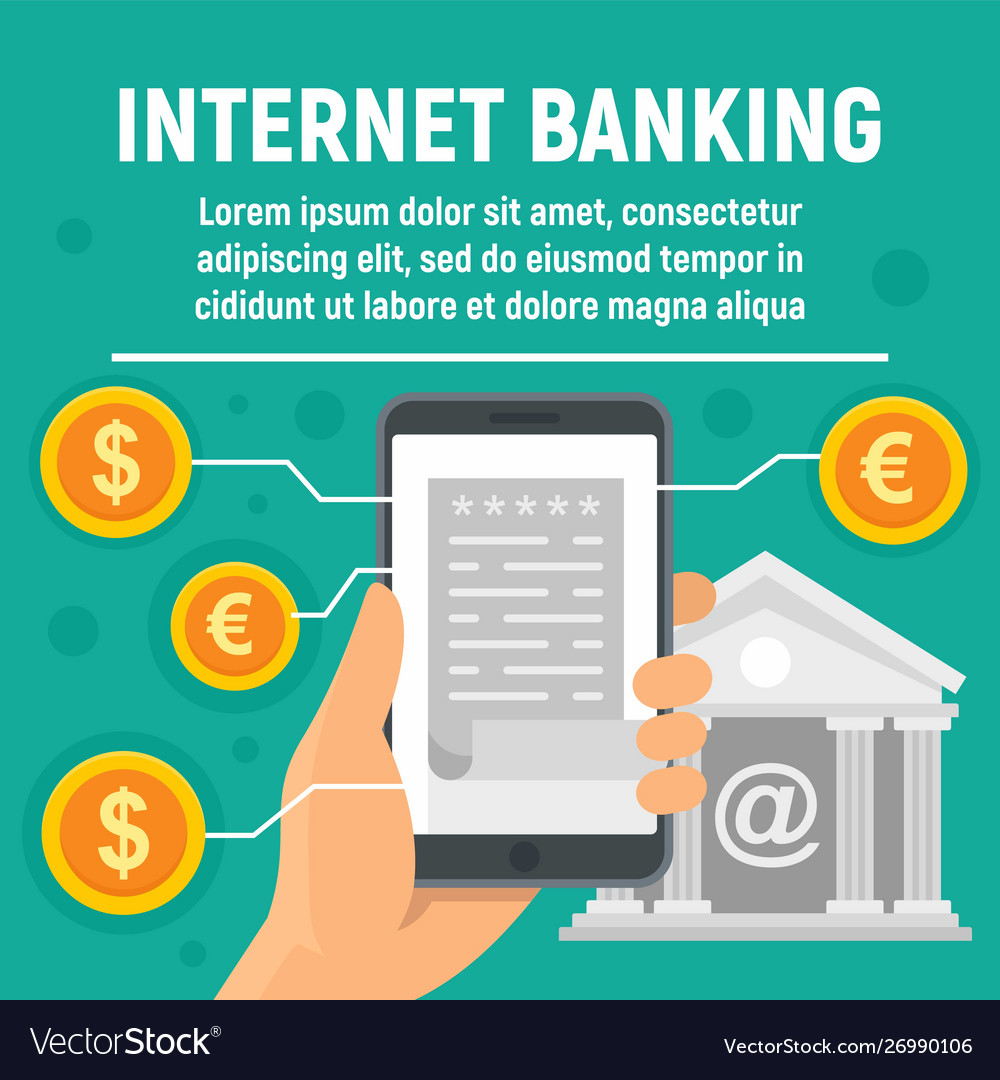 Global internet banking concept banner flat style