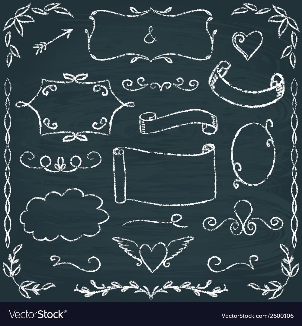 Hand-drawn chalkboard frames and elements set