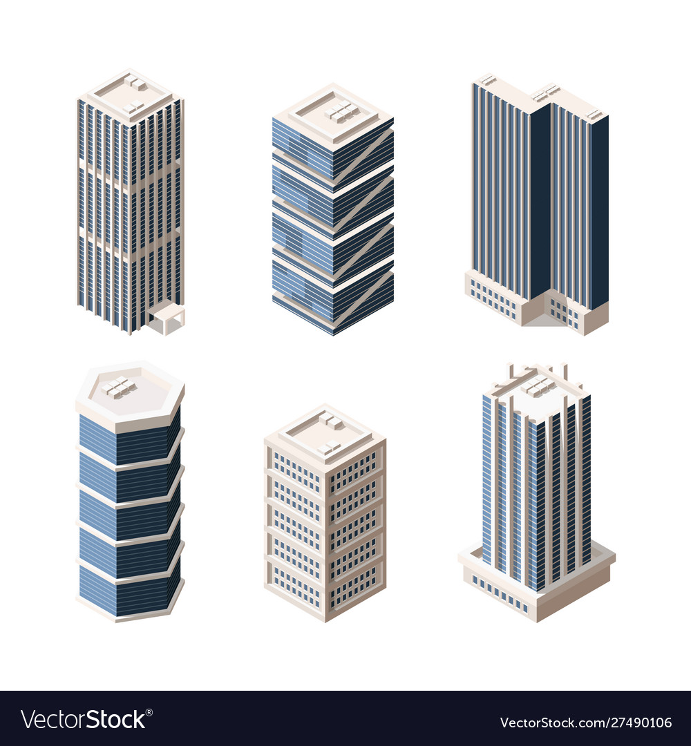 High rise modern buildings isometric