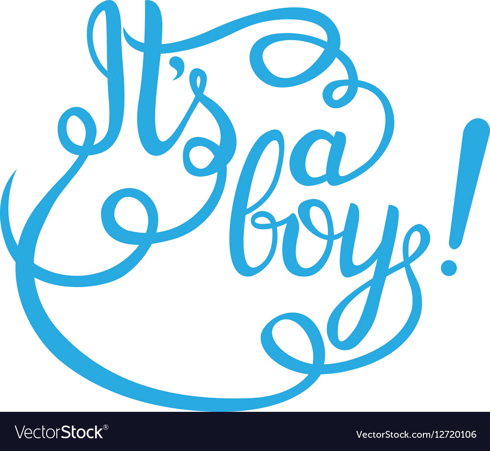Its a boy lettering baby shower invitation vector image stopboris Gallery