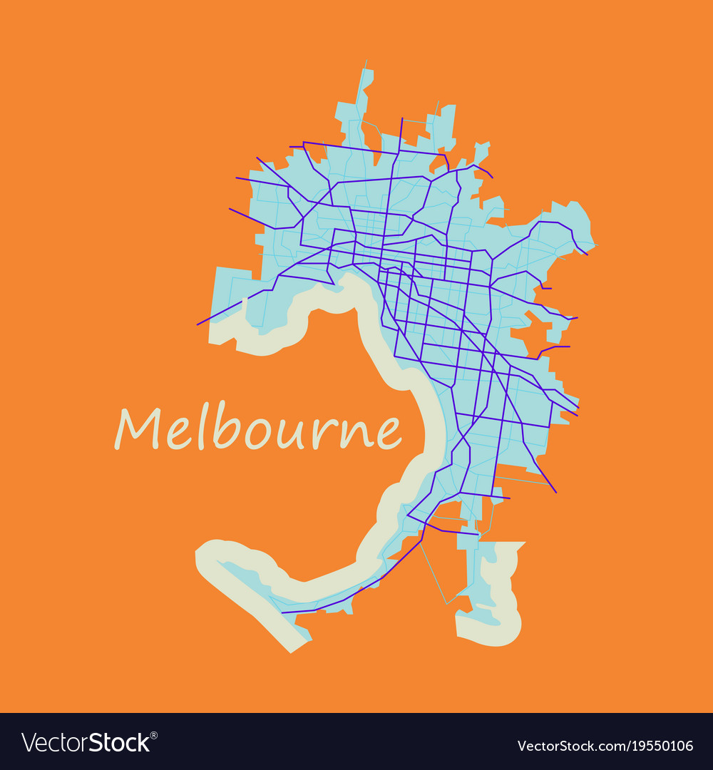 melbourne australia map in retro style flat vector image