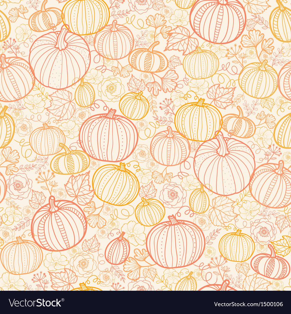 Thanksgiving line art pumkins seamless pattern