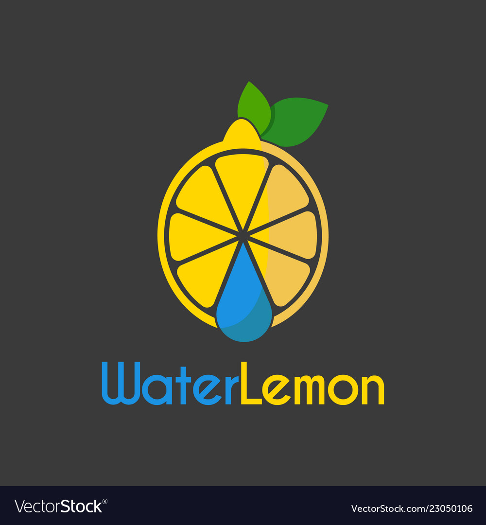 Water drop lemon logo design template
