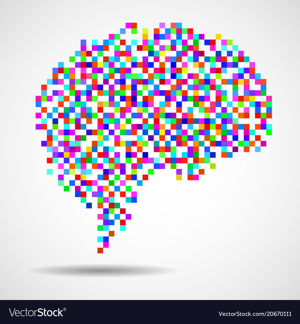 Abstract human brain of pixels vector image