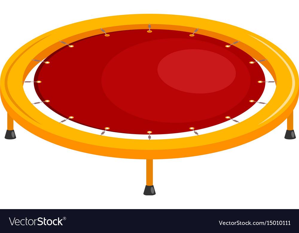 Bright childrens trampoline on a white