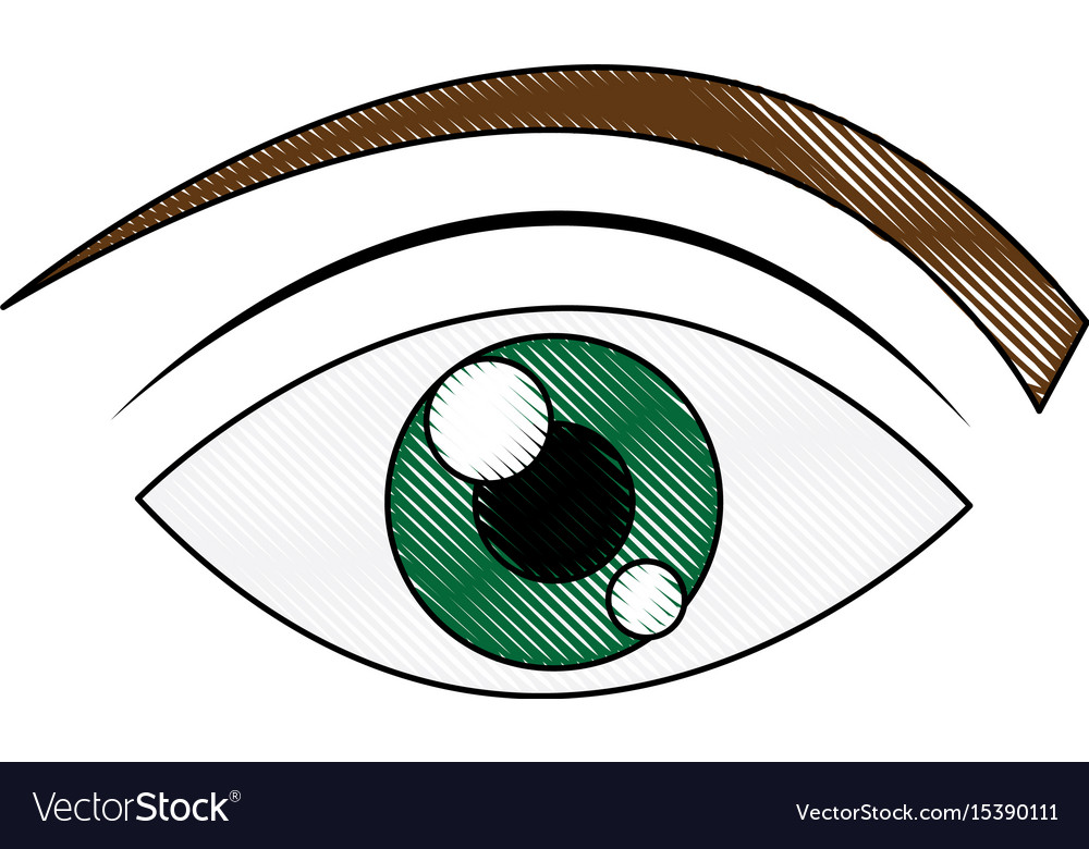 Green eye cartoon people watch image vector image