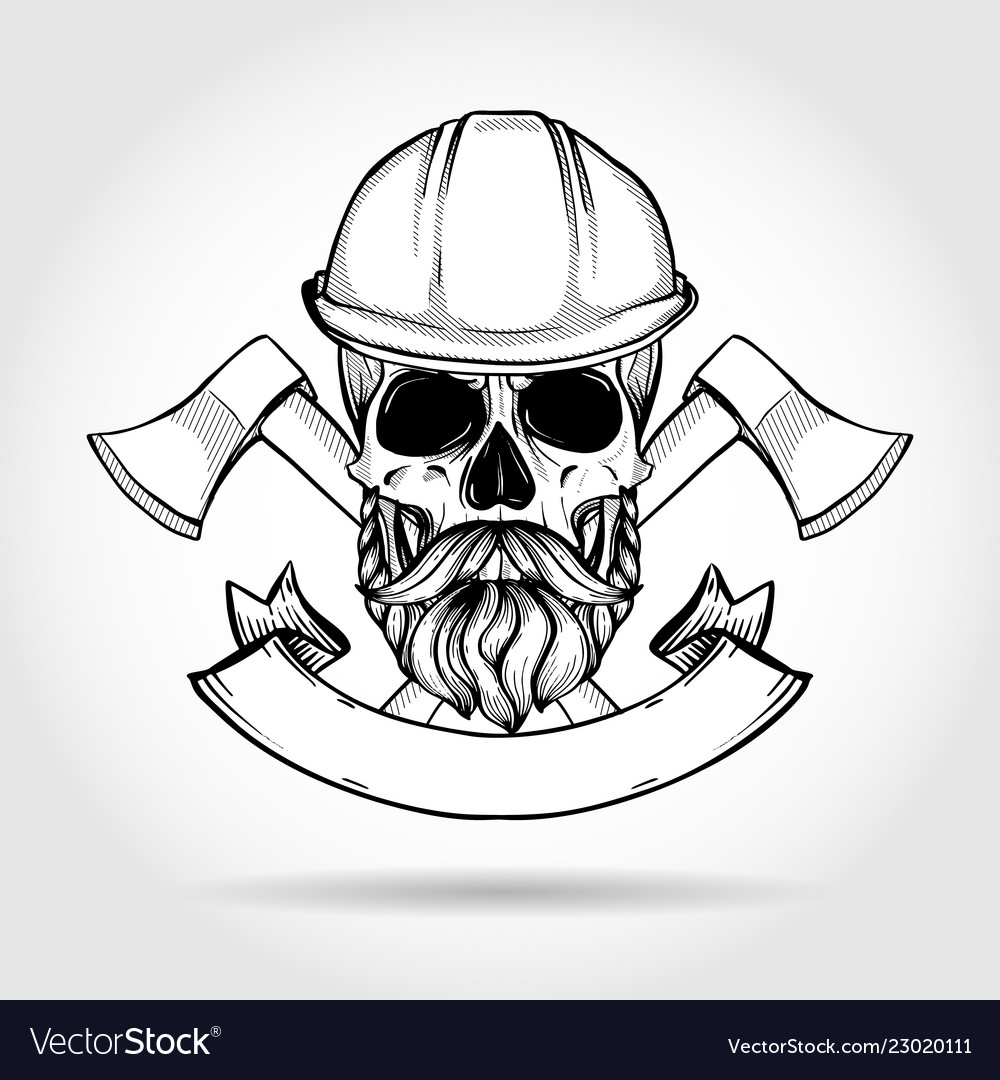 Hand drawn sketch skull with axes