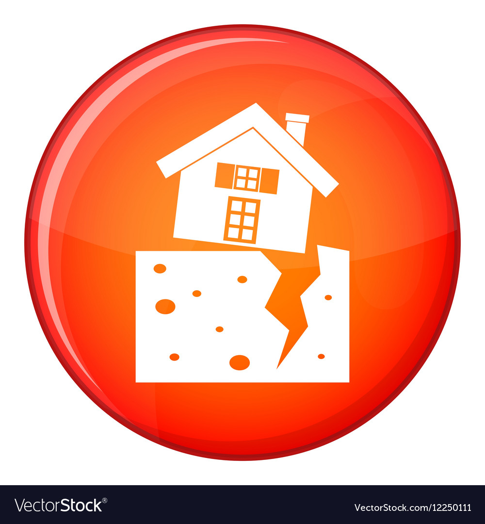 House after an earthquake icon flat style