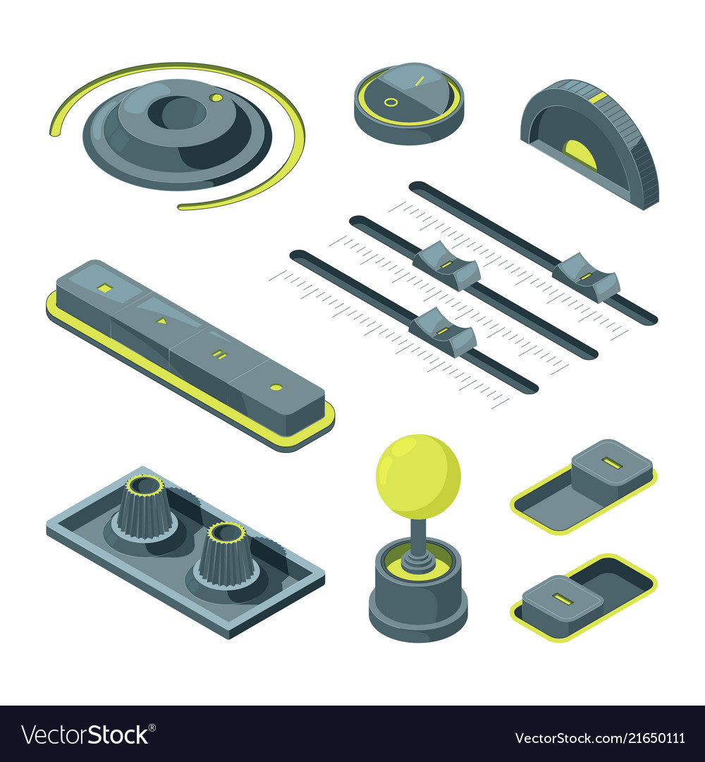 Isometric buttons realistic 3d pictures of