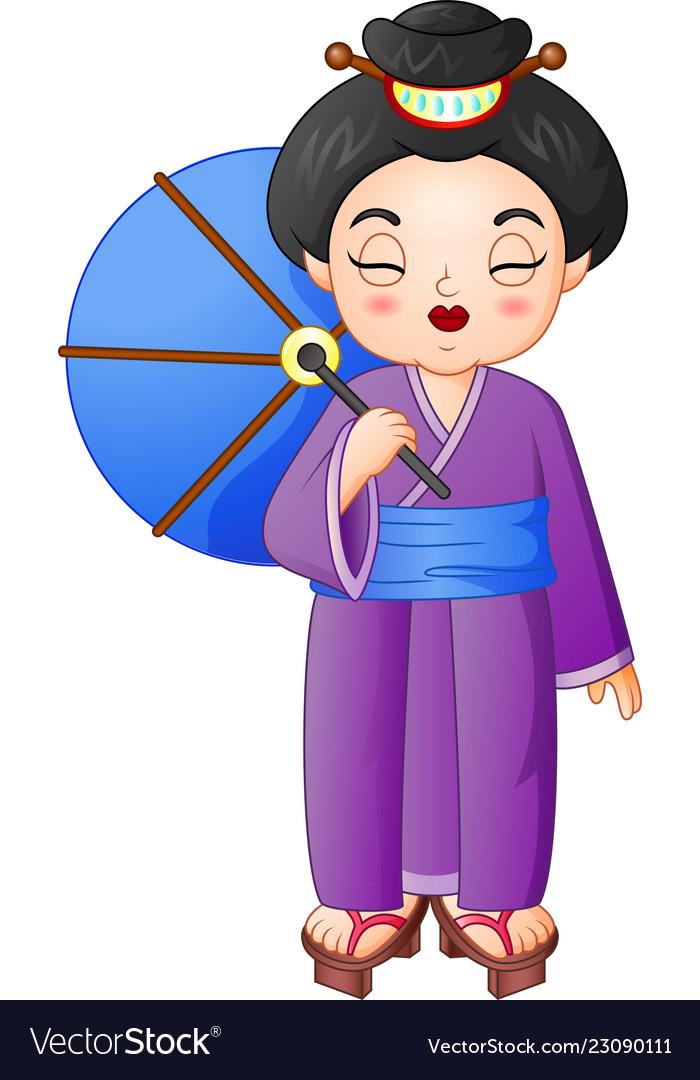 Japanese woman wearing traditional kimono holding