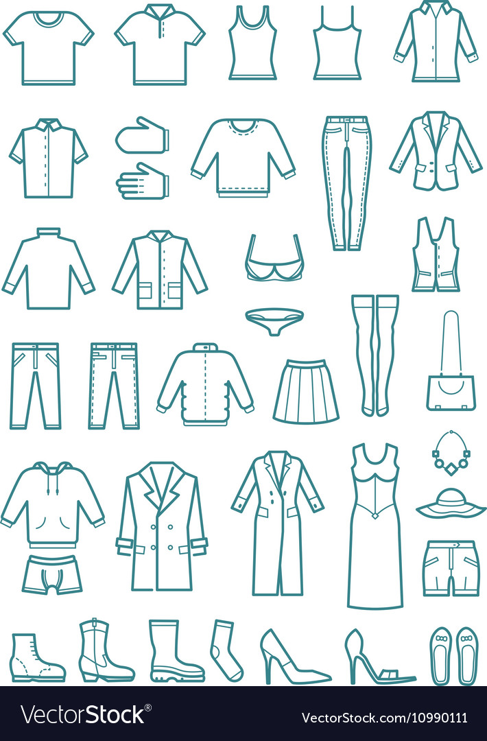 Mens and womens clothes thin line icons