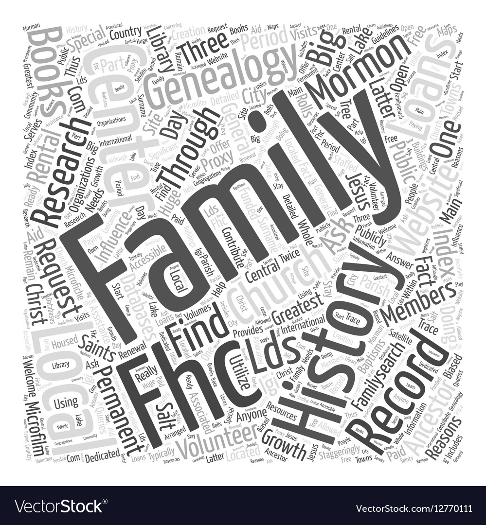 Mormon genealogy record Word Cloud Concept vector image