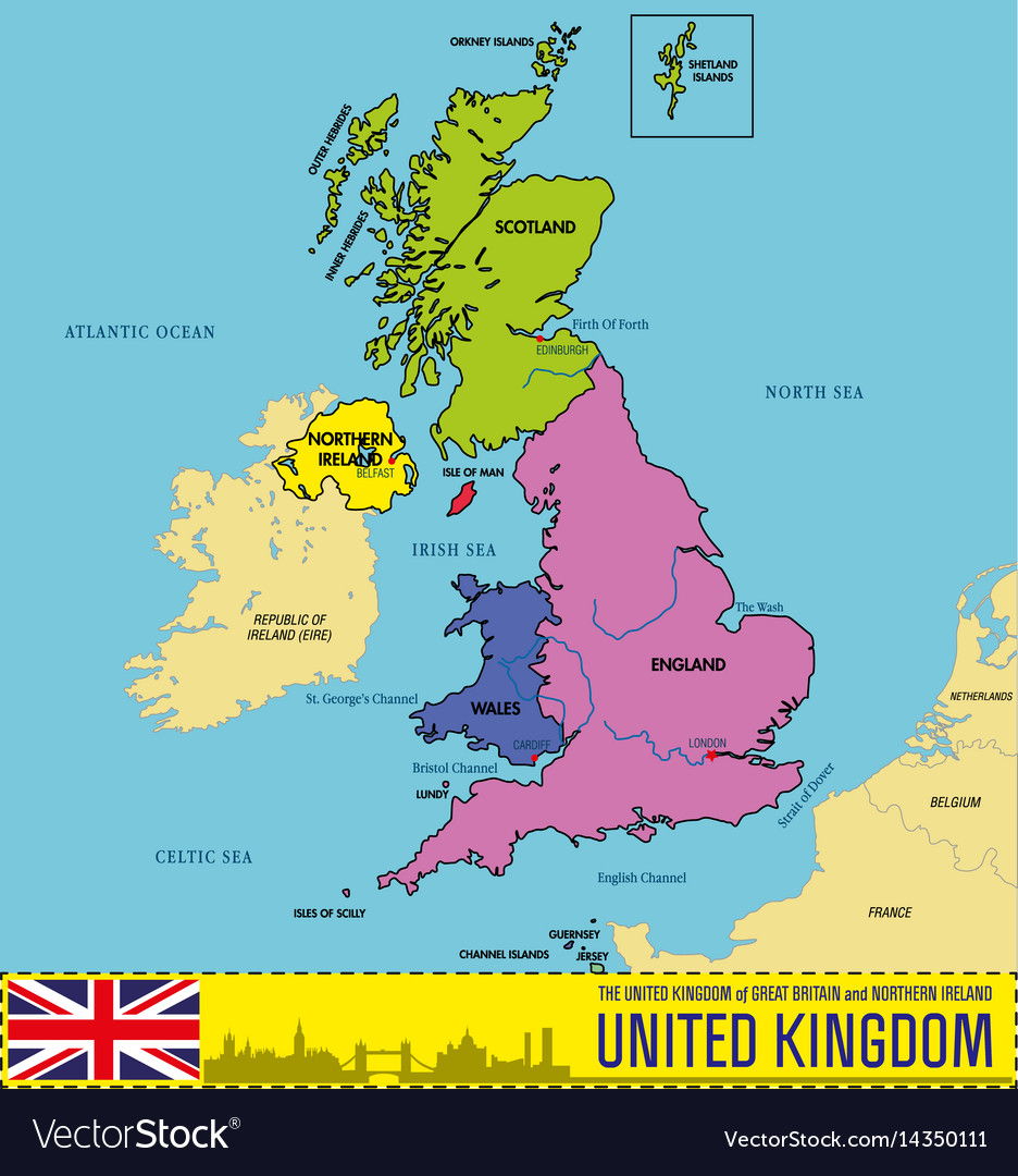 Political Map Of Great Britain.Political Map Of United Kingdom With Regions Vector Image