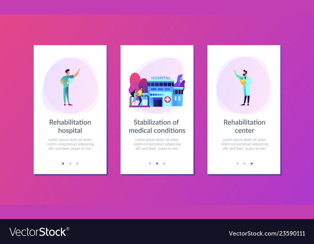 Rehabilitation center app interface template