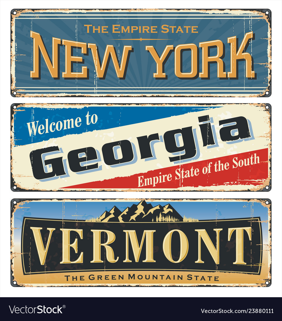 Us all states retro souvenirs old paper poster