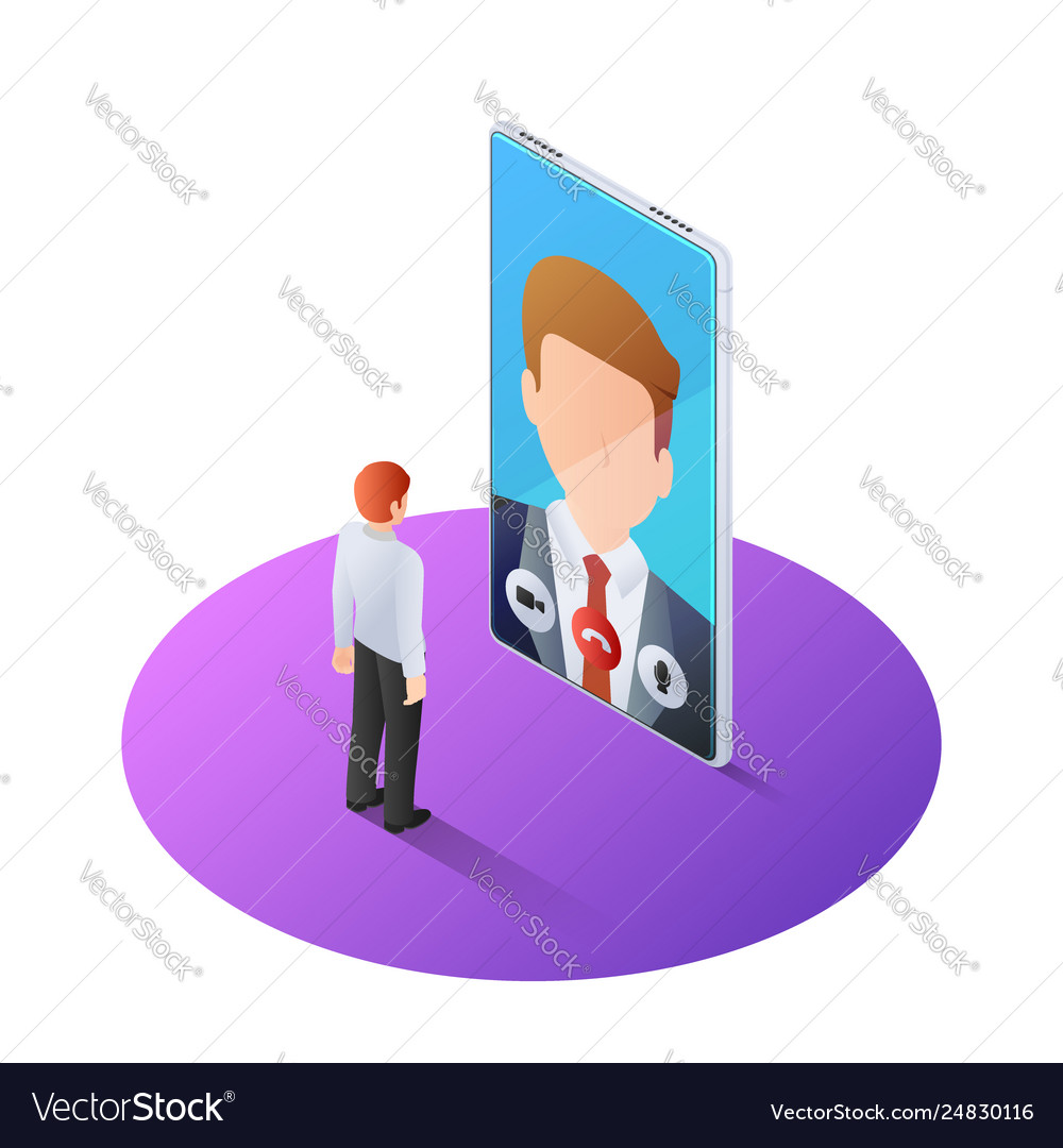 3d isometric businessman having video call with