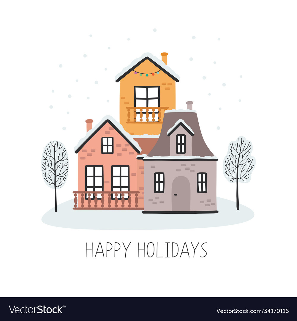 Christmas card with houses happy holidays