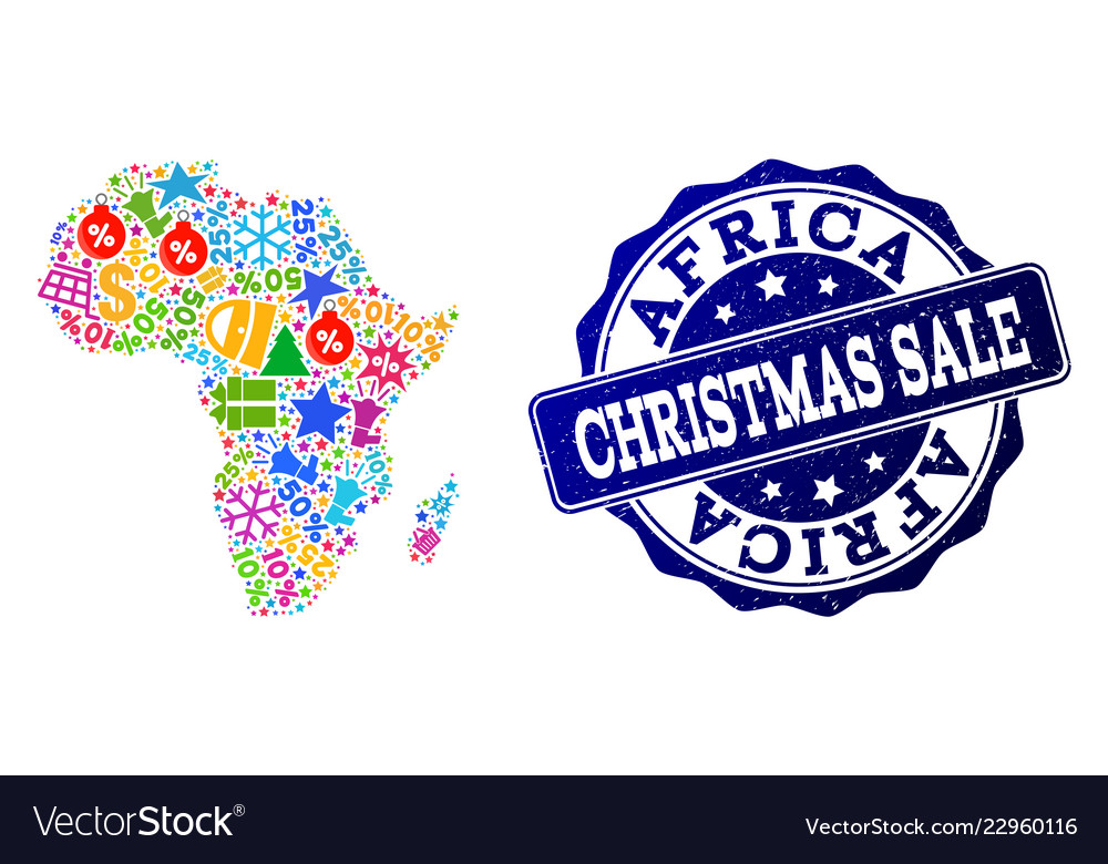 christmas sale collage of mosaic map of africa and