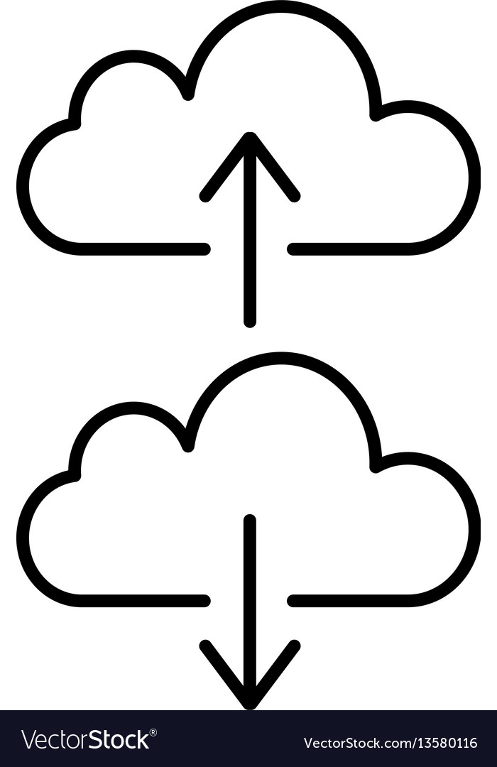 Cloud backup and restore signs linear icon