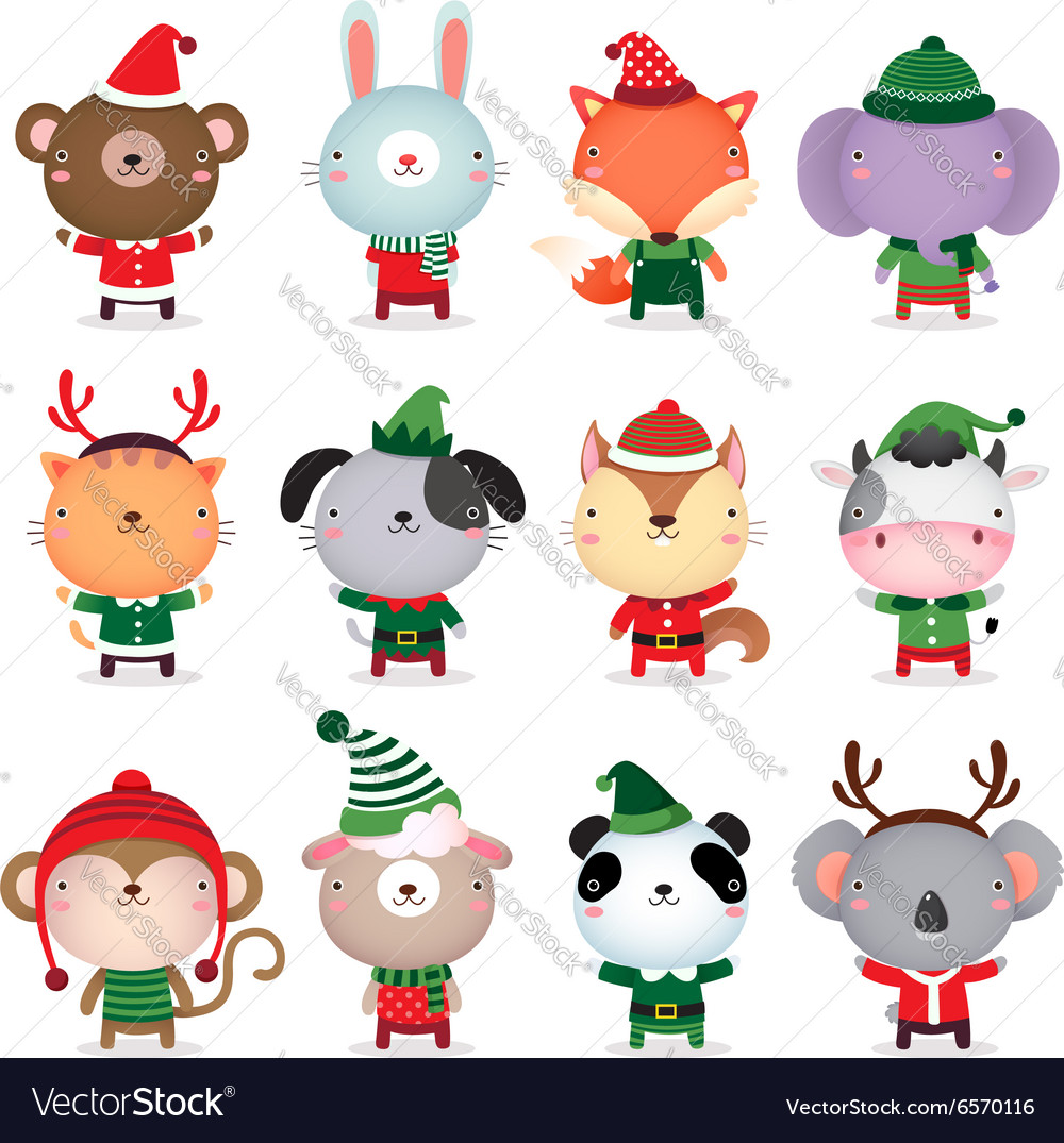 Collection of cute animals design with Christmas