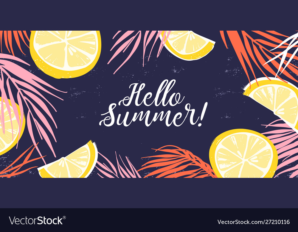 Creative banner decorated with hand drawn lemon