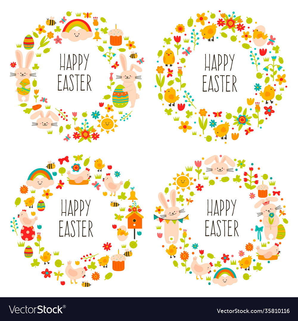 Easter wreaths cute doodle spring decorations