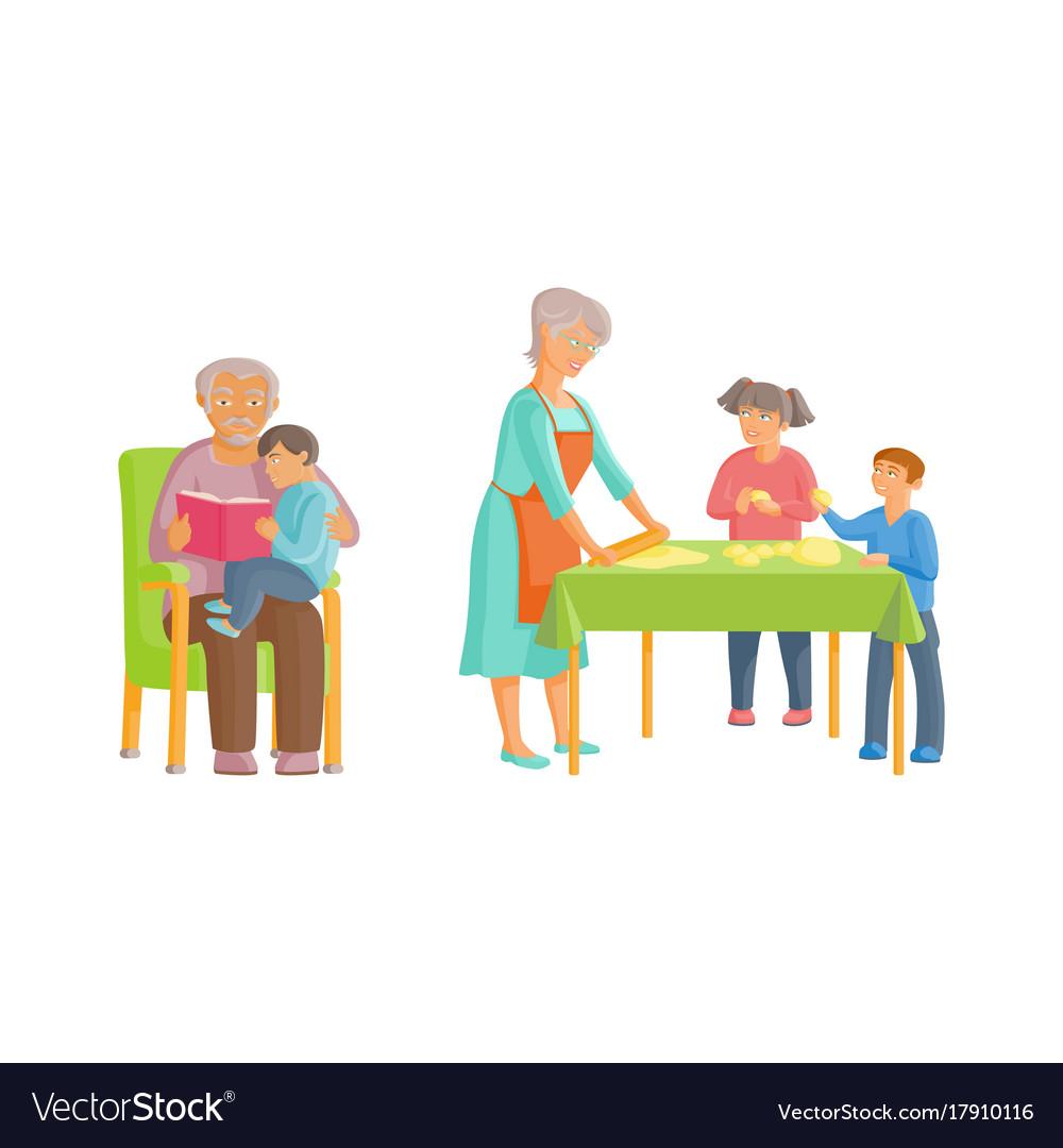 Flat cartoon grandparents and children set