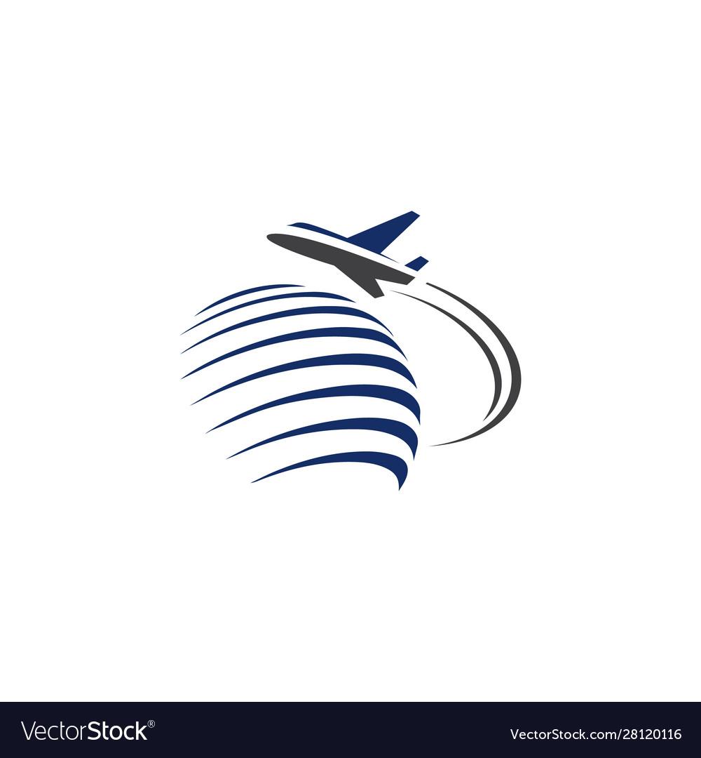 Flying aeroplane over world symbol concept