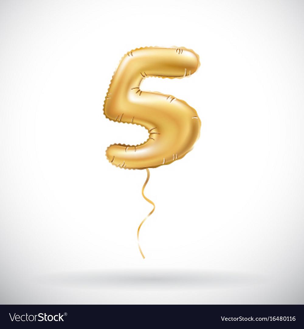 Golden 5 number five metallic balloon party vector image