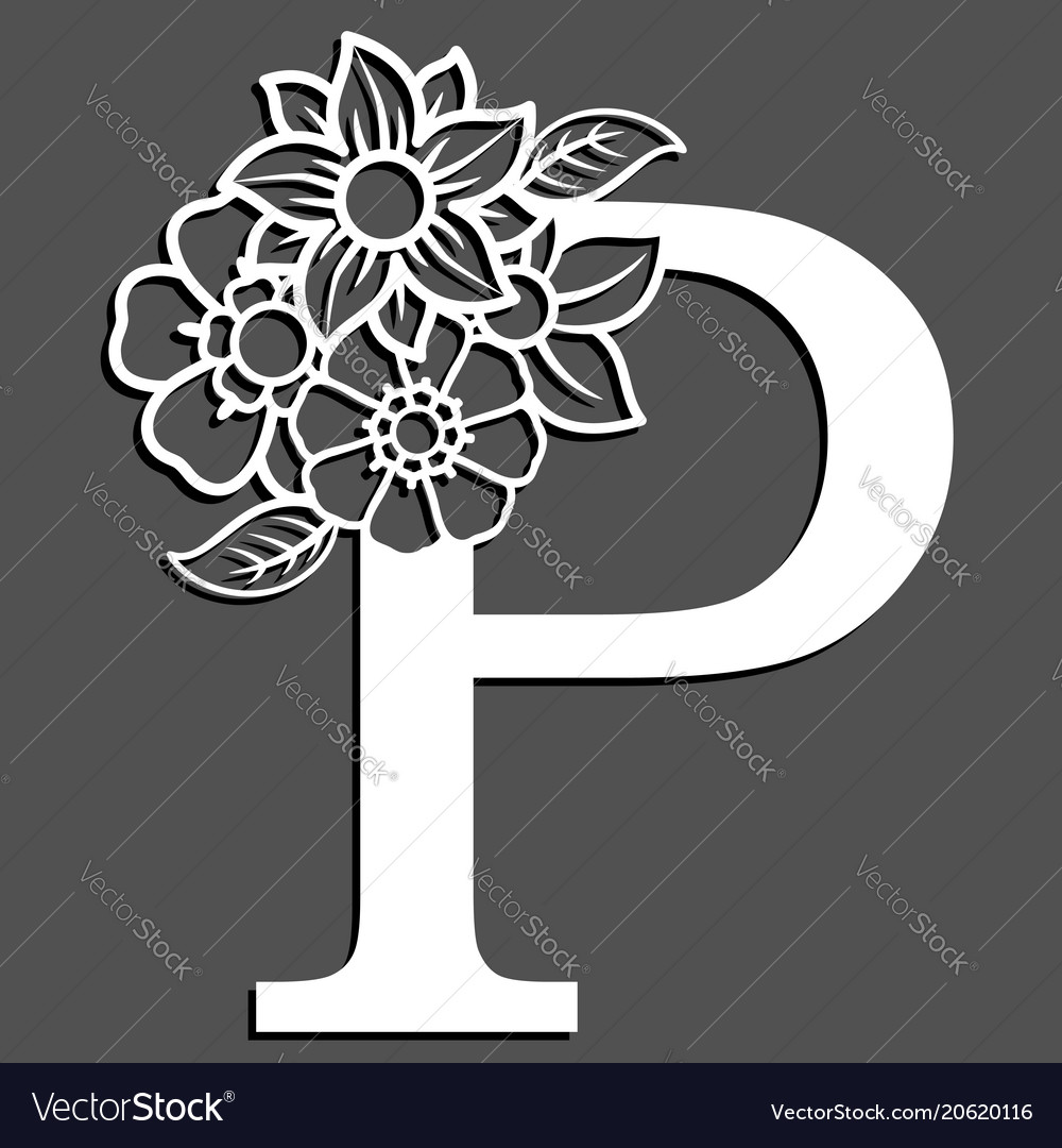 Letter silhouette with flowers letter p