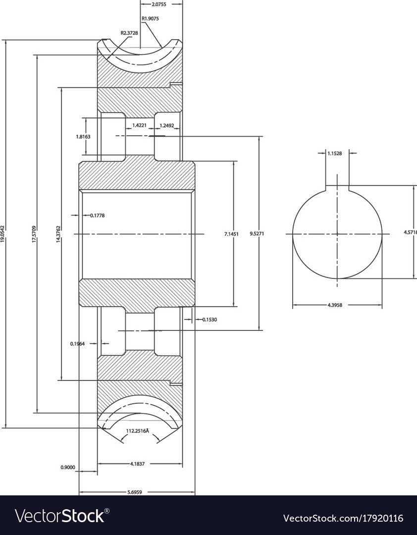 Machine building drawings on a white background vector image