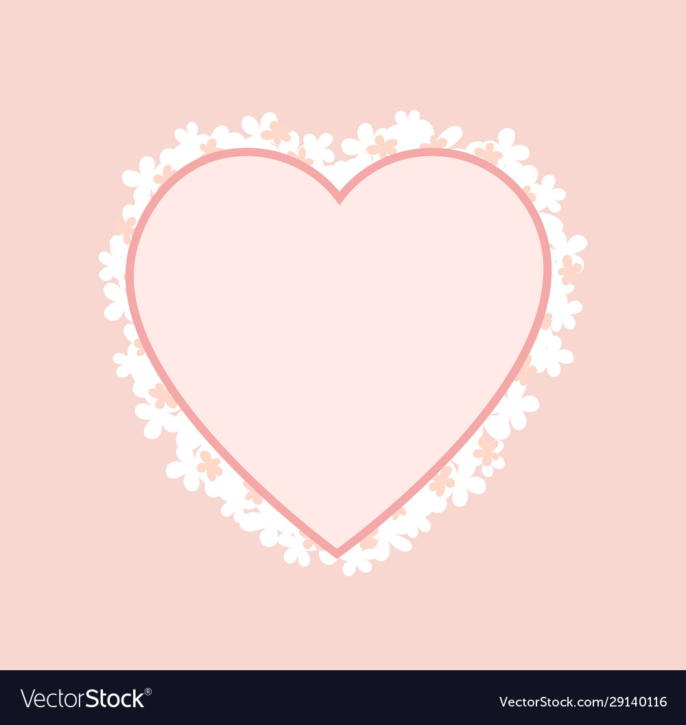 Pink heart shape frame decorated blooming flowers