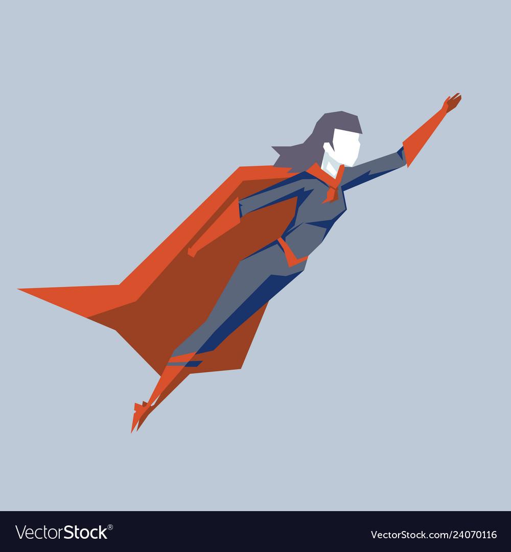 Powerful female superhero fly up woman hero