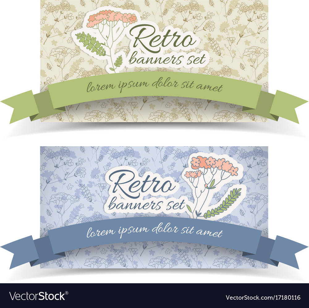Retro decorative horizontal banners