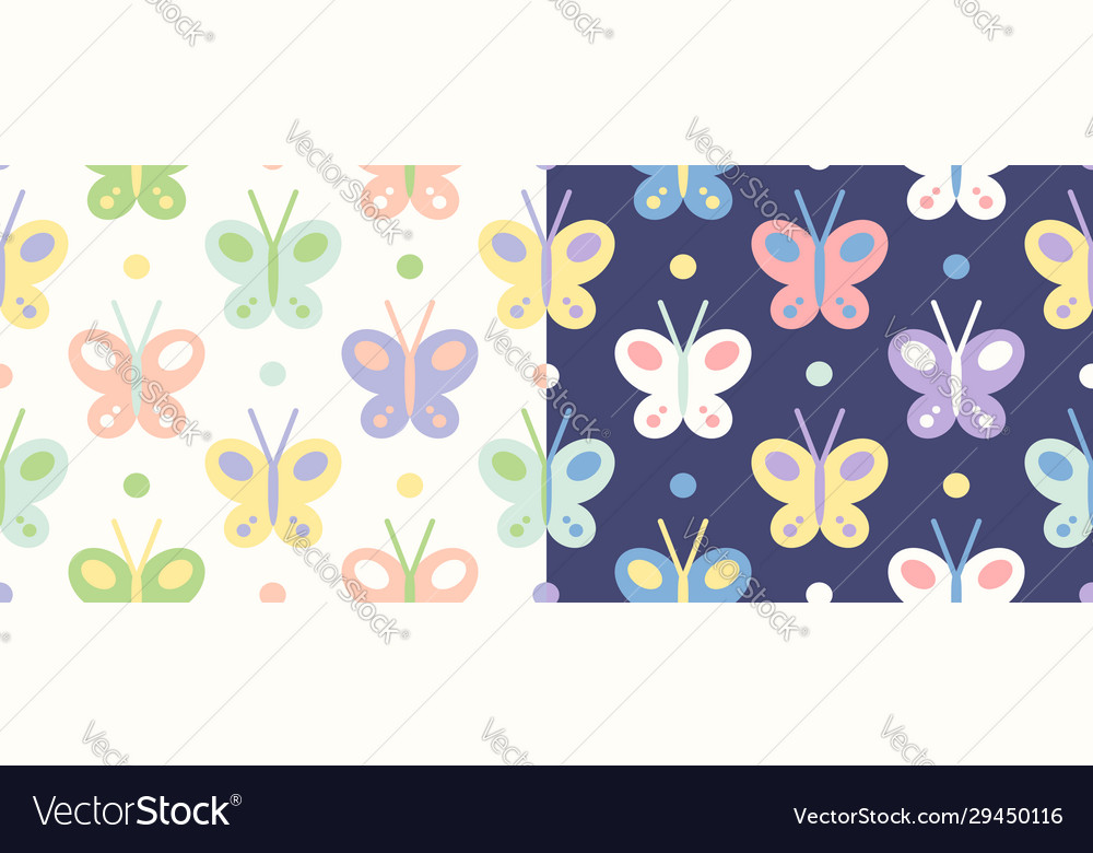 Retro seamless set patterns with butterfly