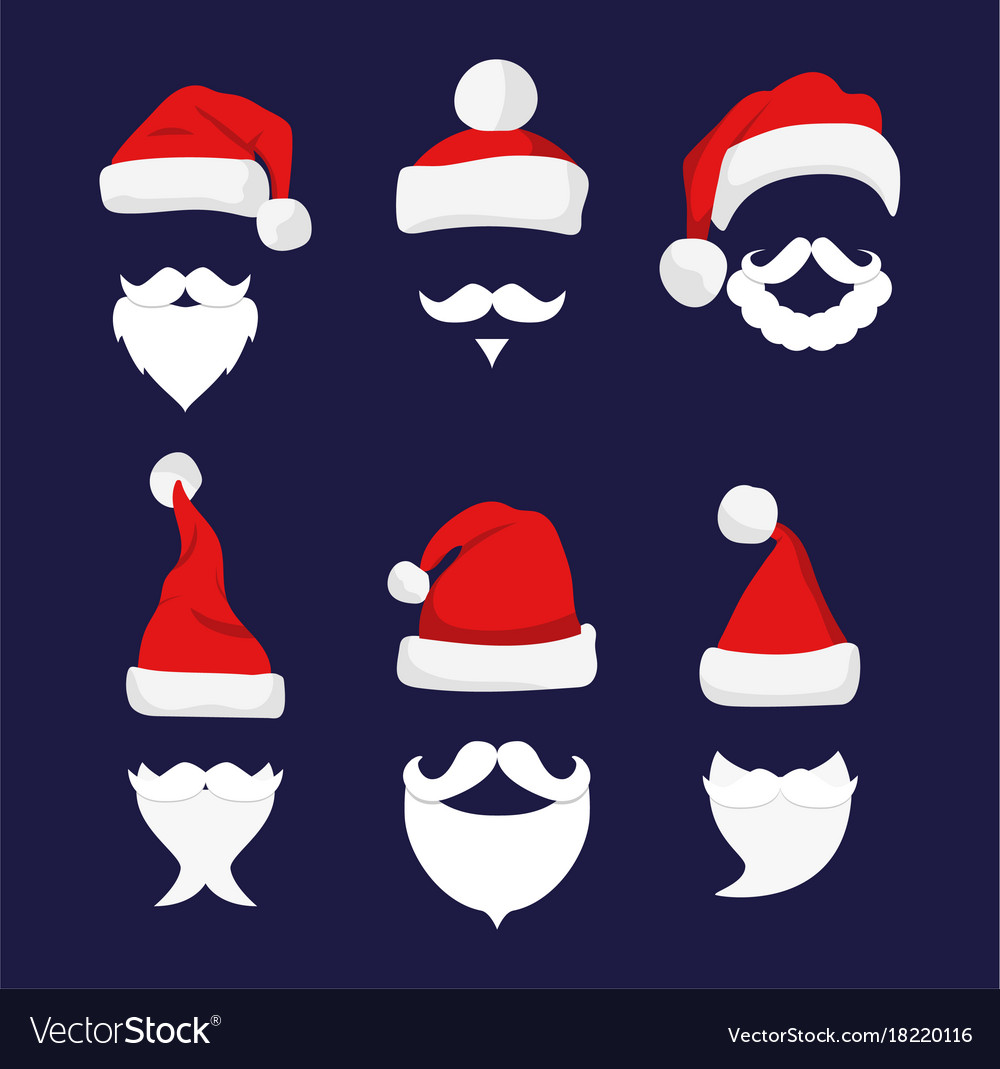 Santa hats moustache and beards