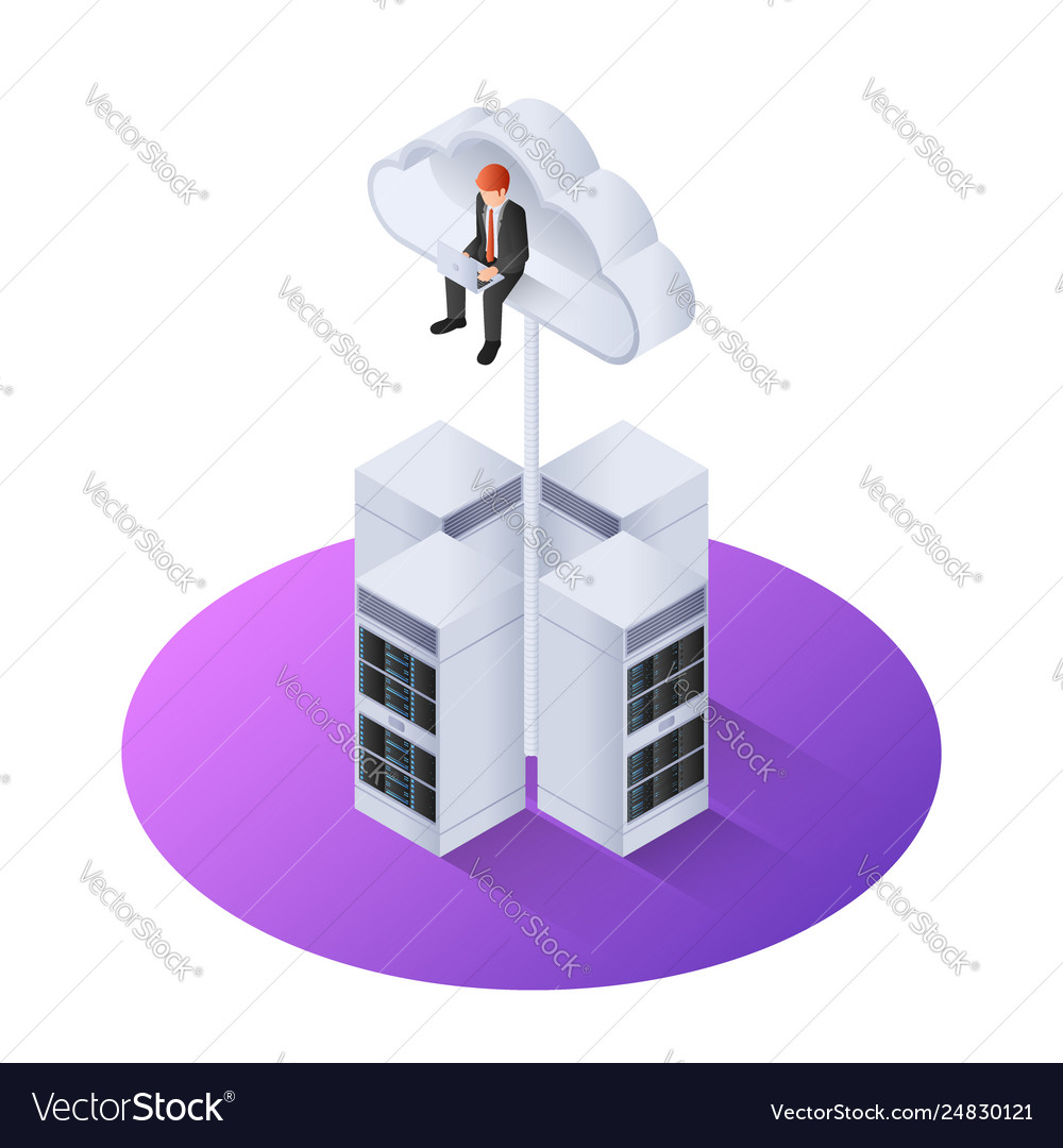 3d isometric businessman with laptop sitting on