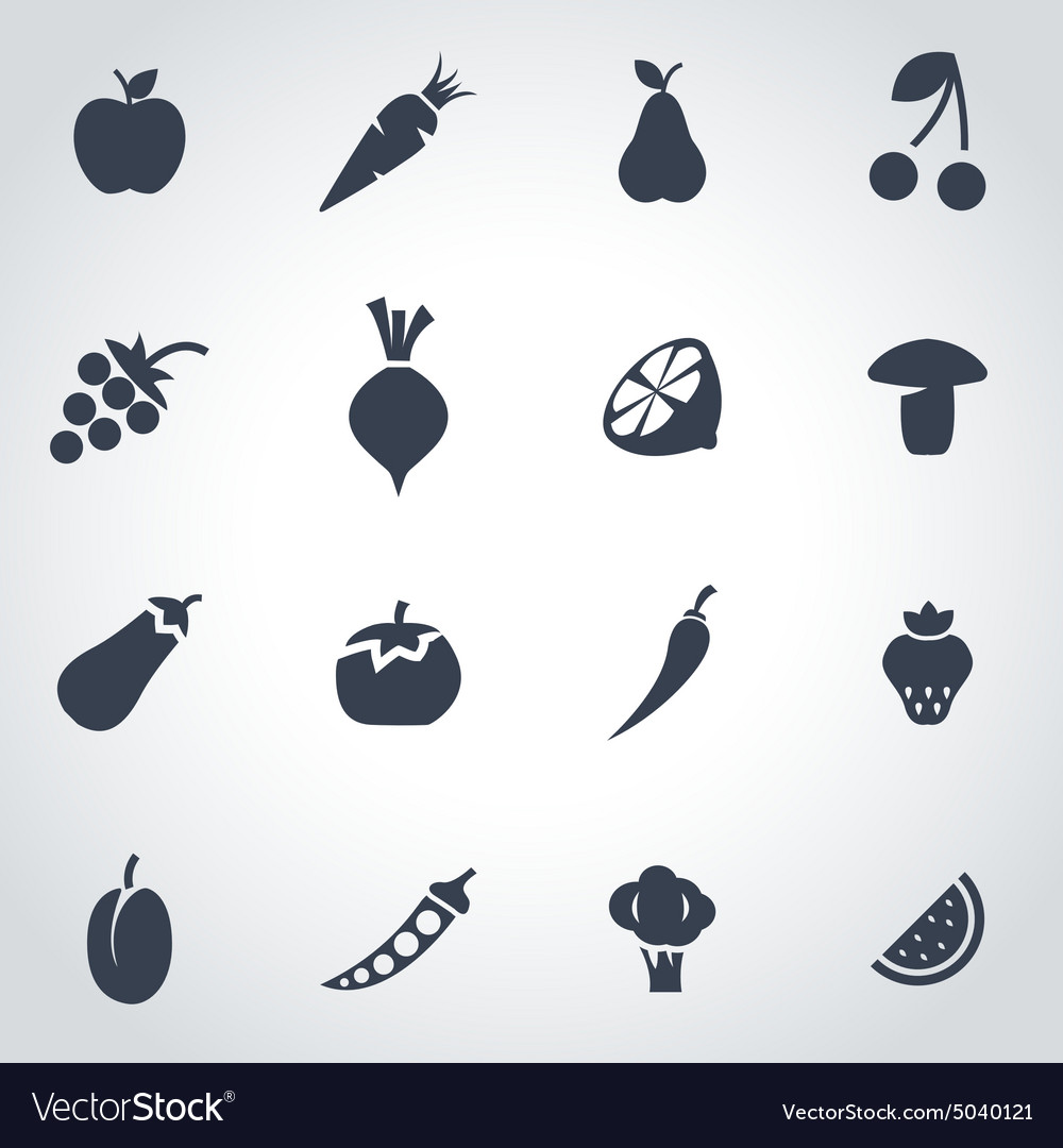 Black fruit and vegetables icon set