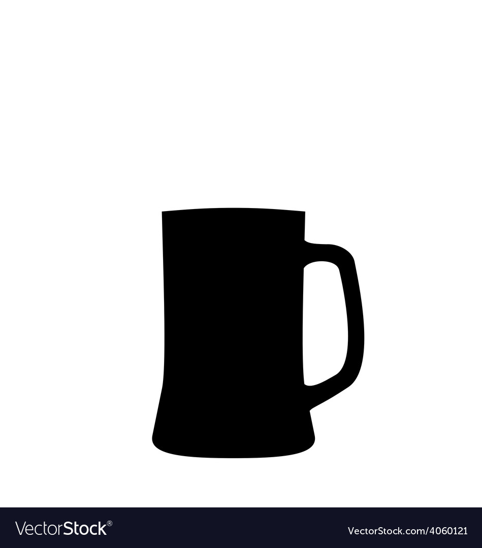 Black silhouette beer mug isolated on white