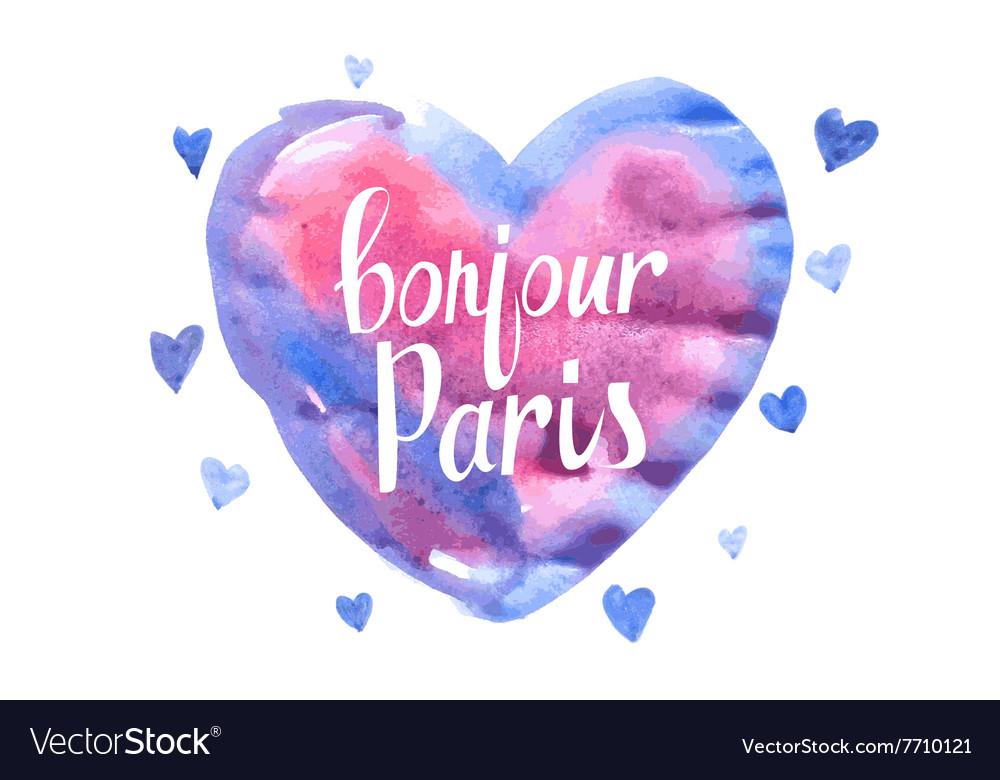 Bonjour Paris card with watercolor hearts